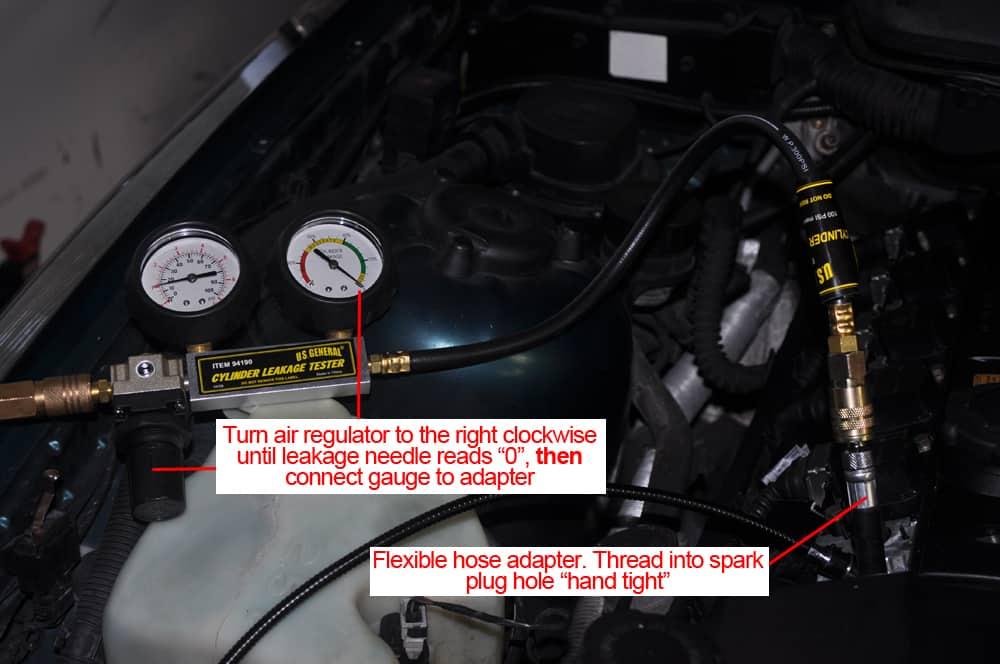 BMW E36 Cylinder Leak Down - hook the test gauge up to the cylinder.