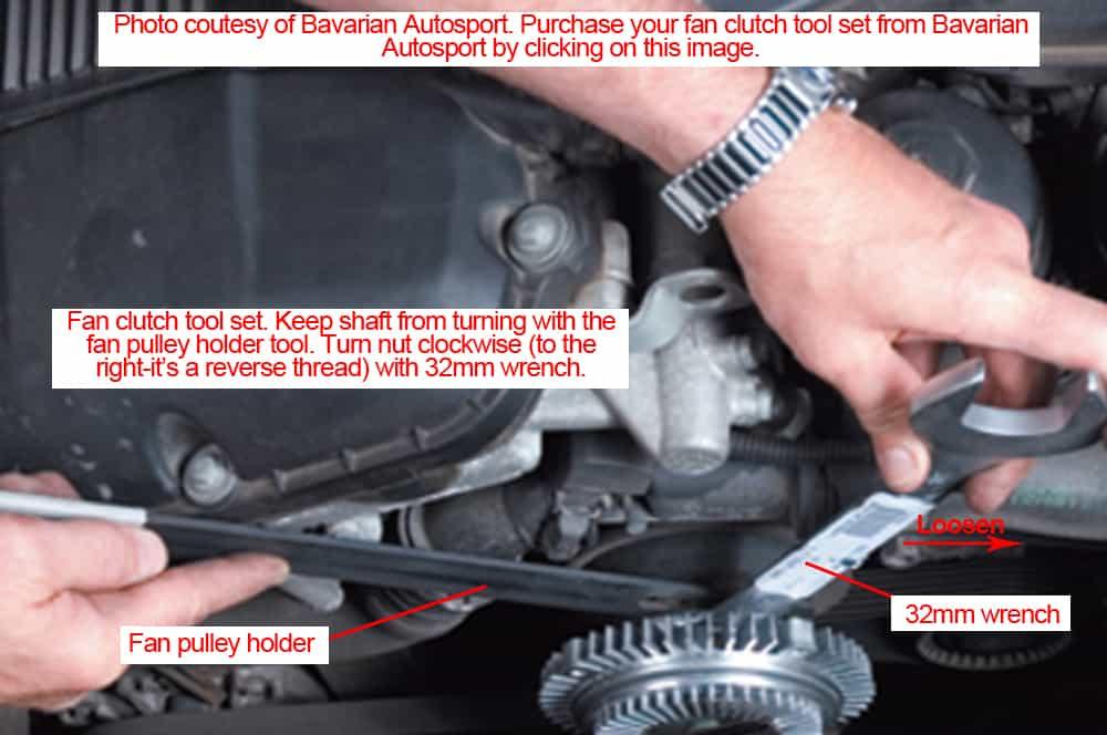 BMW E36 Cylinder Leak Down - loosen the fan clutch nut.