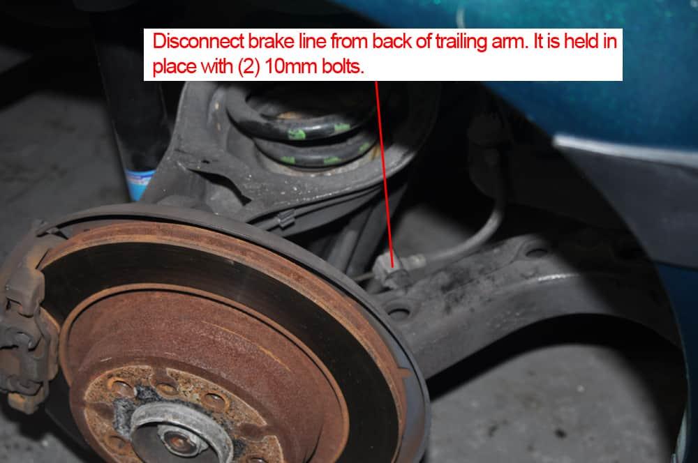 BMW E36 RTAB replacement - rear trailing arm bushings brake line removal