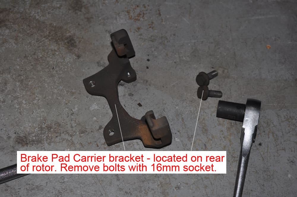 BMW E36 brake repair - brake pad carrier removal