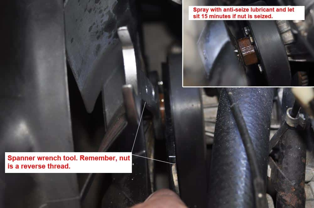 BMW E31 coolant system - removing the fan blade