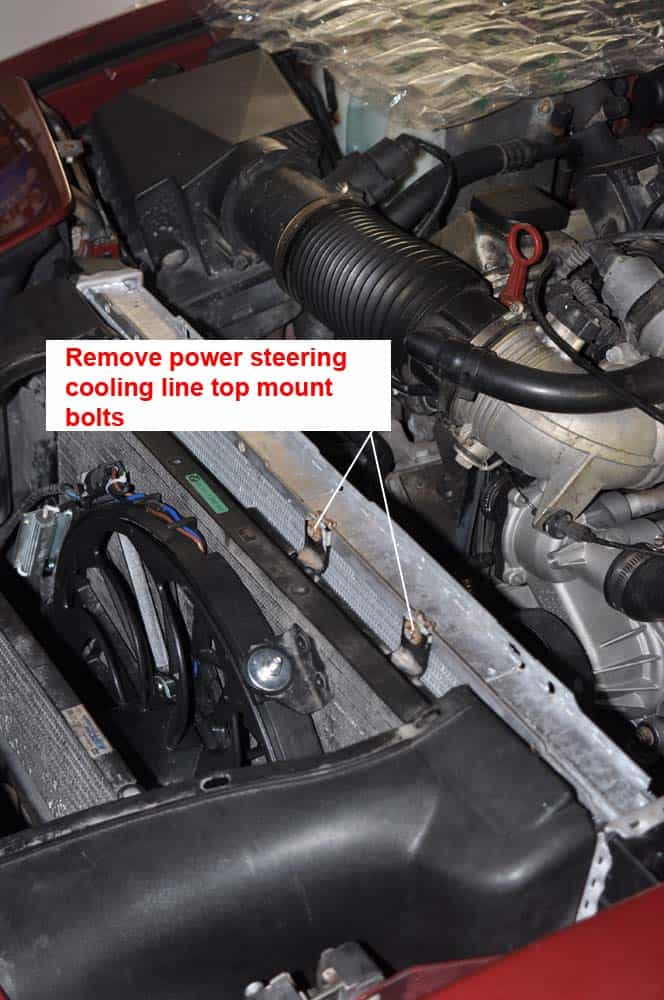 BMW E31 coolant system - power steering cooling line bolts