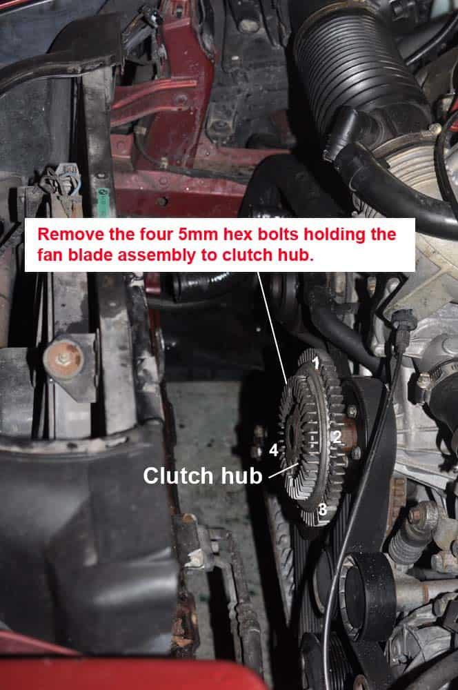 BMW M60 coolant system - fan clutch hub