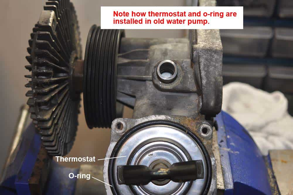 Note position of old thermostat and o-ring