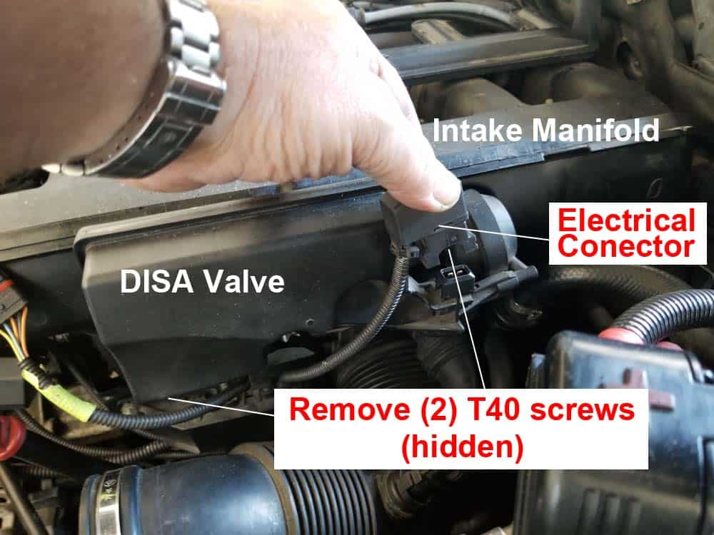 BMW E60 rough idle repair - remove DISA valve electrical connection