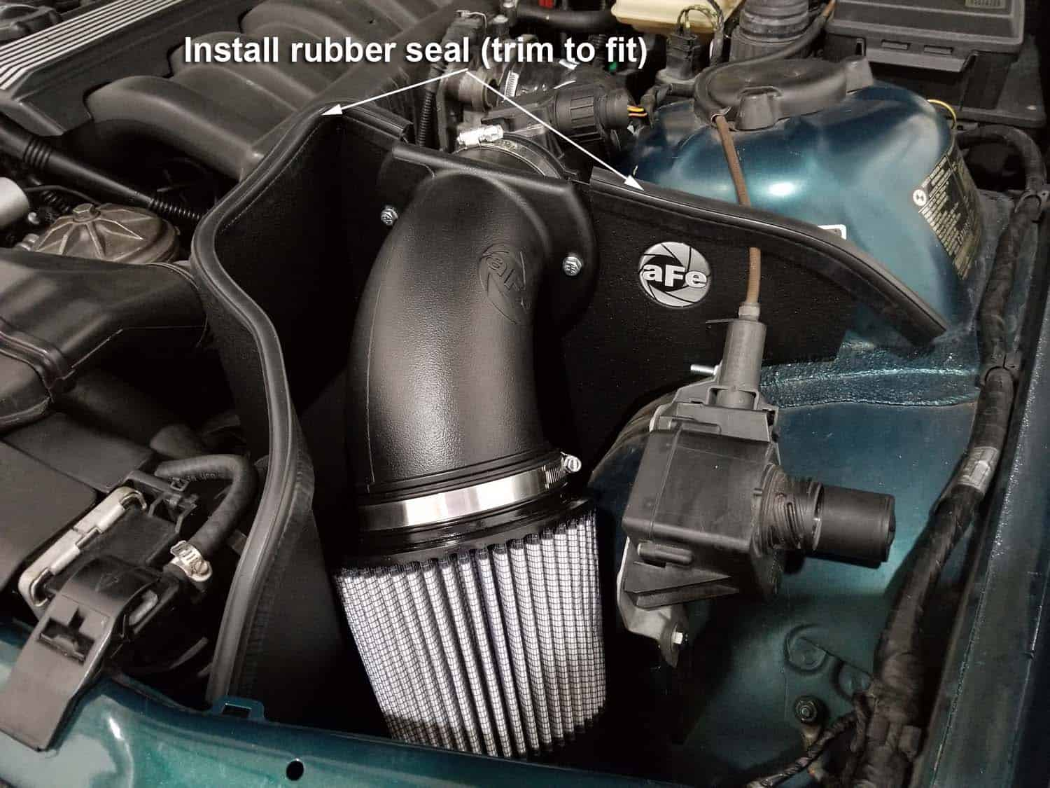 BMW E36 cold air intake - trim the rubber seal to fit