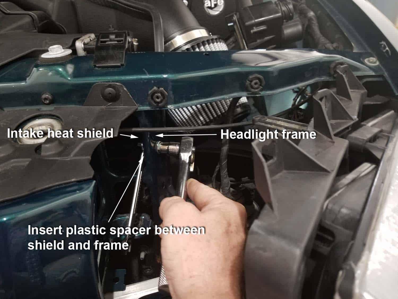 BMW E36 cold air intake - heat shield installation