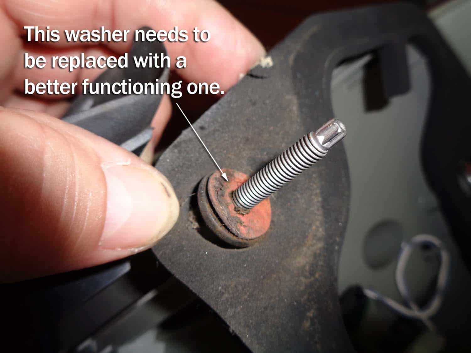 Nylon washer has failed and needs to be replaced