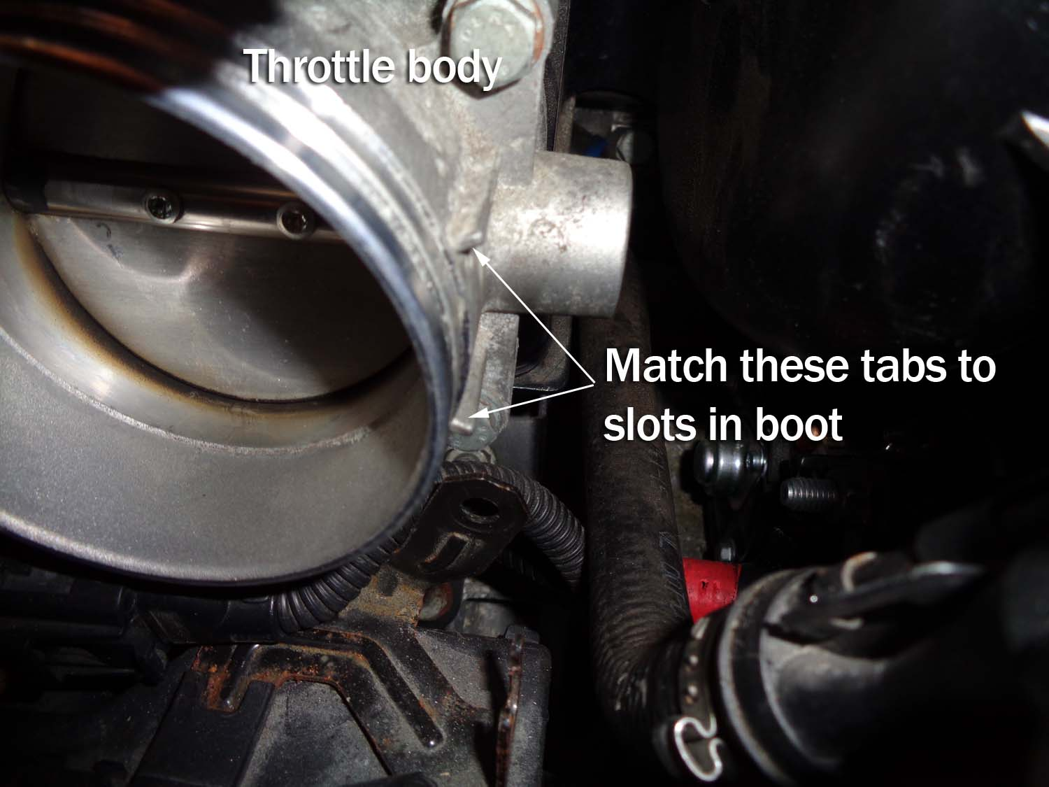 bmw e60 intake boot repair - match up the throttle body tabs