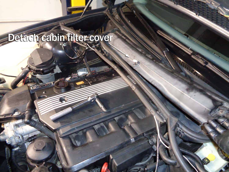 Remove the cabin filter cover