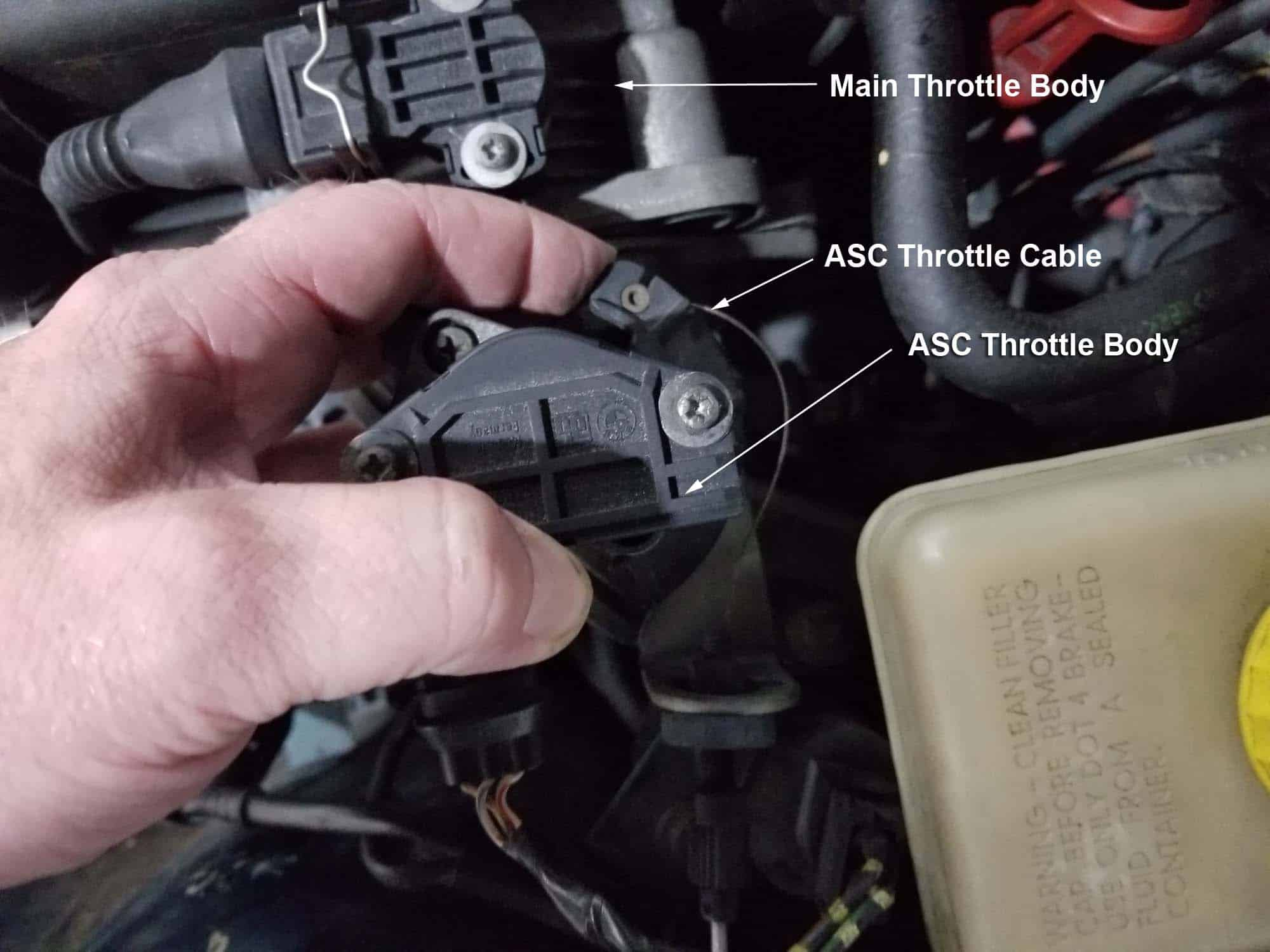 BMW E36 cold air intake - disconnect the ASC throttle cable