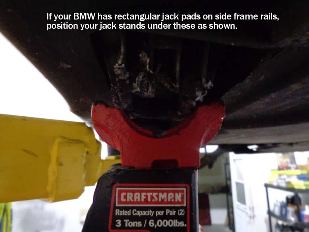 Use the side jack pads if your model BMW has them.