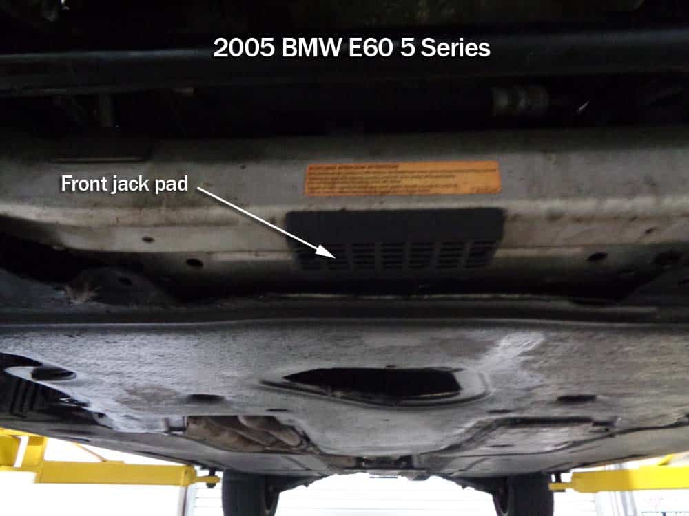 Some vehicles have jack pads on the front crossmember