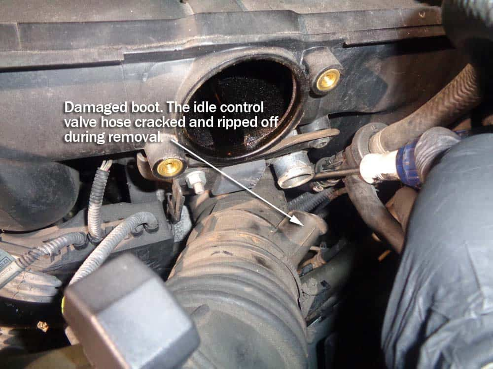 BMW rough idle on startup - Loosen the intake boot from the throttle body