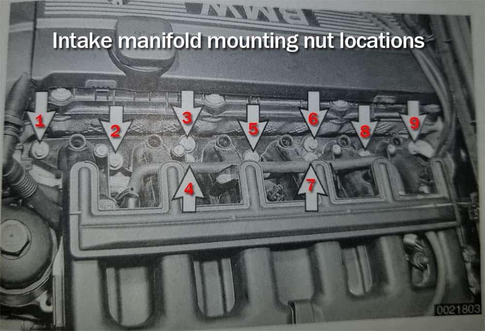 BMW E46 intake manifold - locate the nine mounting nuts anchoring the intake manifold to the engine head.