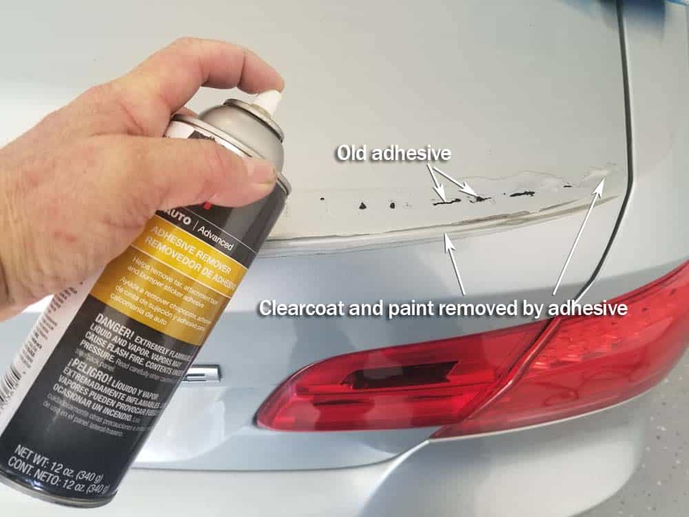 Liberally soak the remaining adhesive in 3M adhesive remover