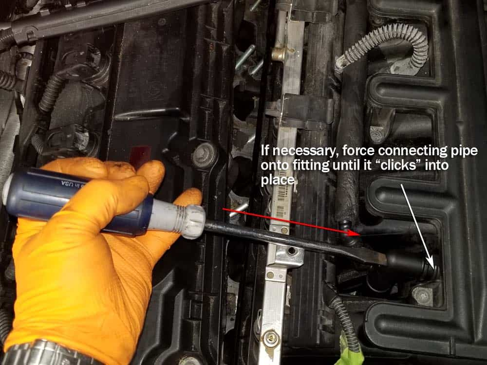 bmw e46 pcv valve replacement - Attach the connecting pipe to the intake manifold