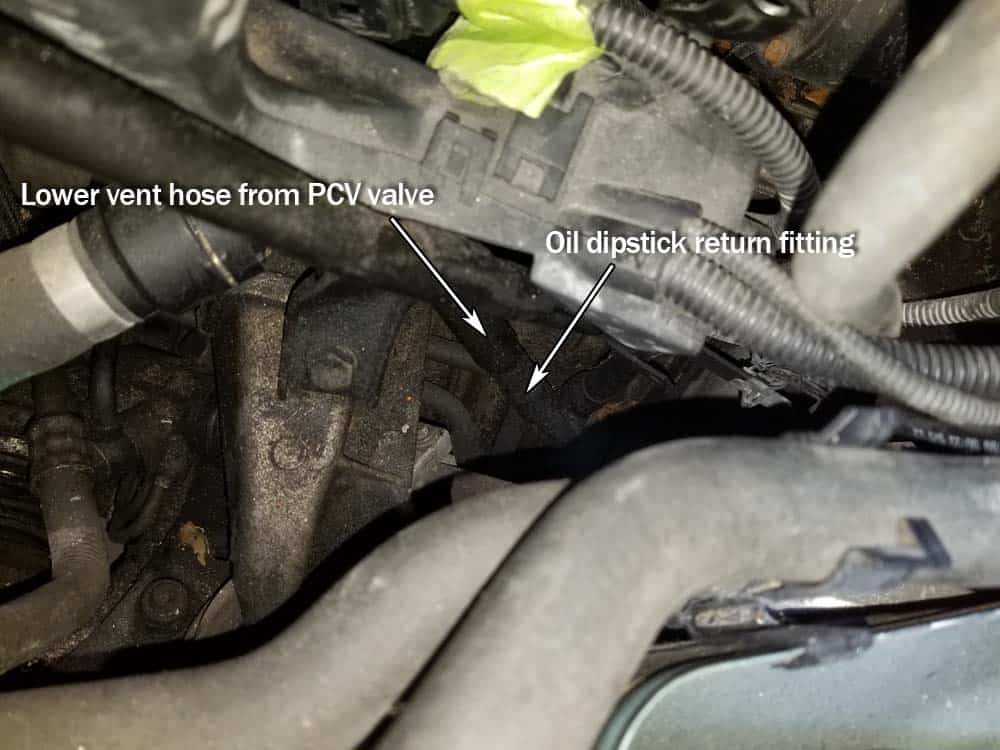 bmw e46 pcv valve replacement - attach the lower vent hose from the pcv valve to the dipstick fitting