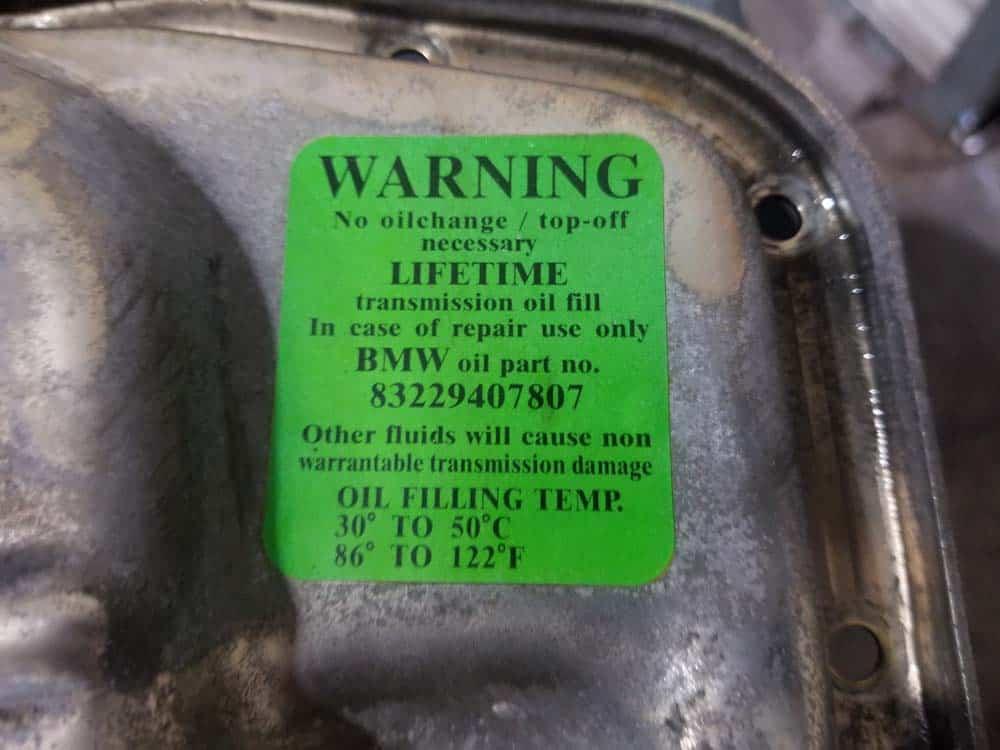 bmw lifetime transmission oi sticker E46