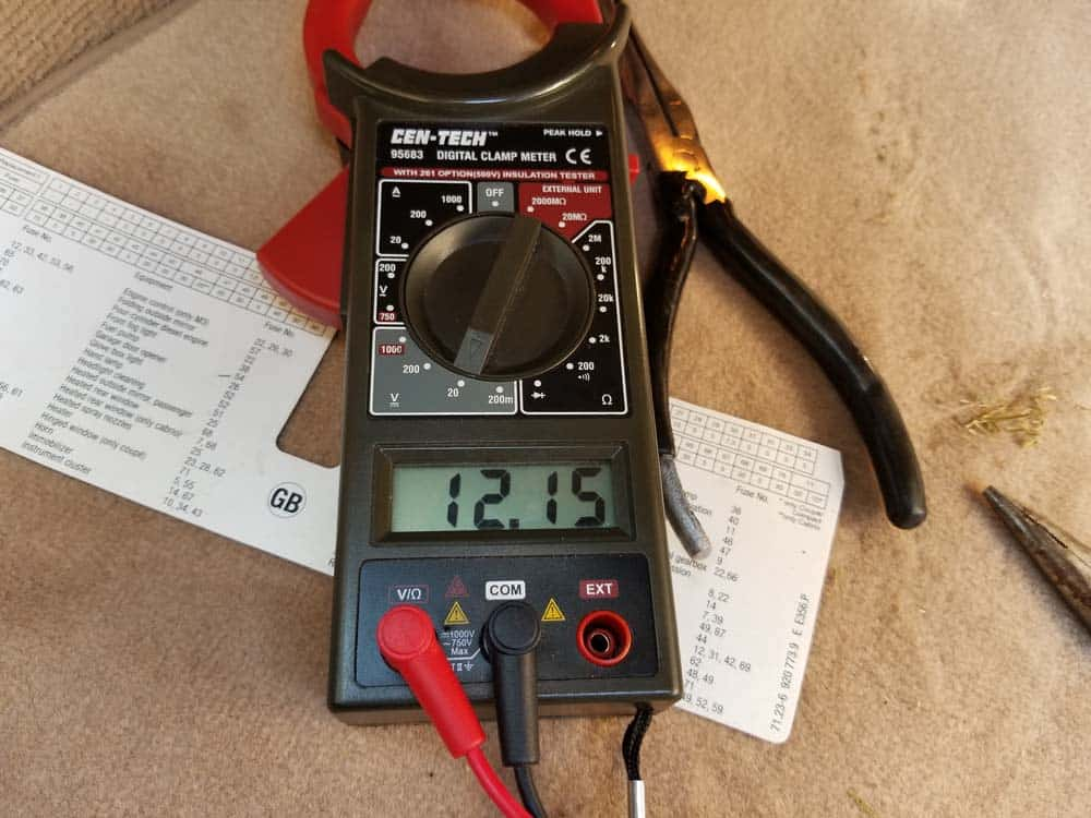 multimeter should read 12 volts