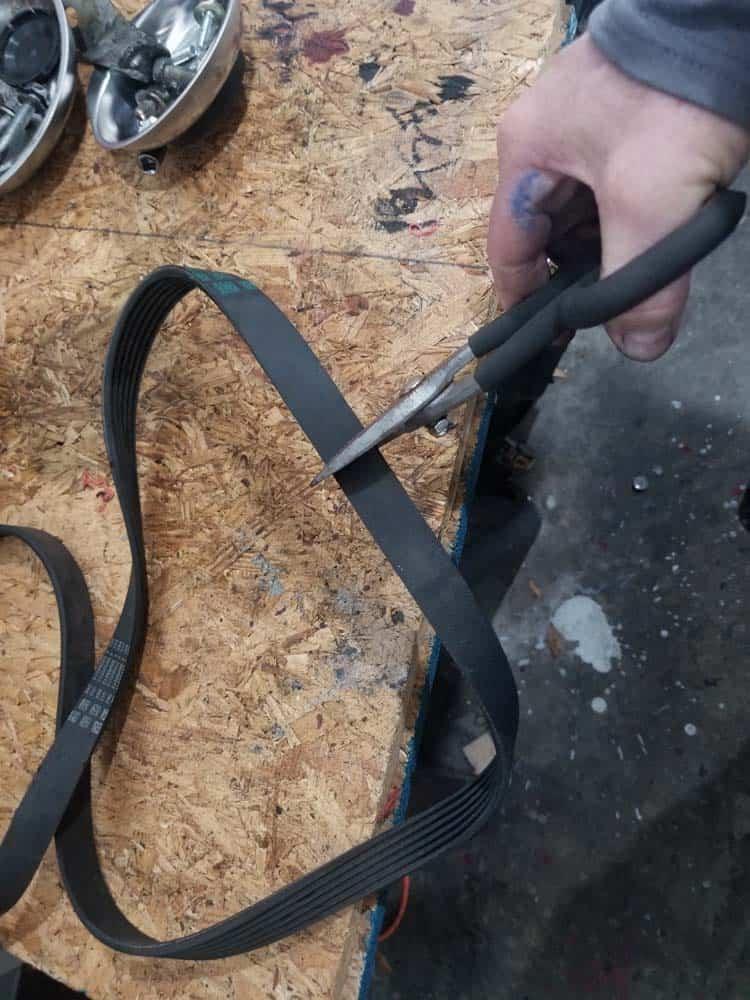 cut an old accessory belt in half
