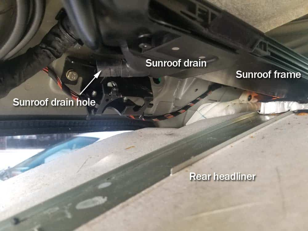 bmw e61 trunk leak - sunroof drain diagram