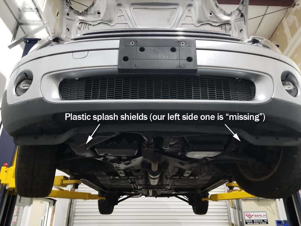 MINI R56 service position - remove splash shields