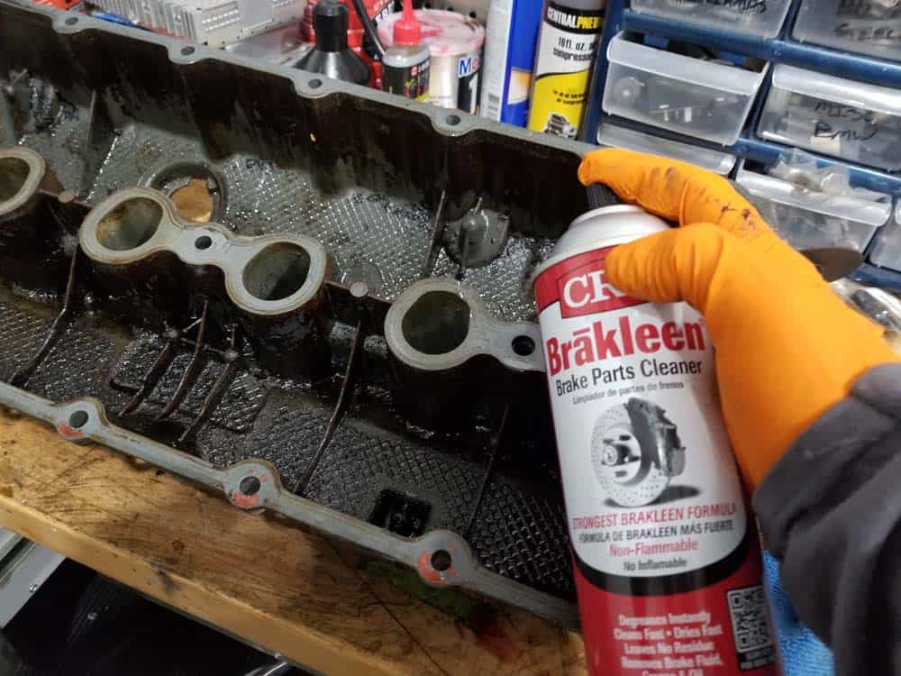 Thoroughly clean valve cover with CRC Brakleen