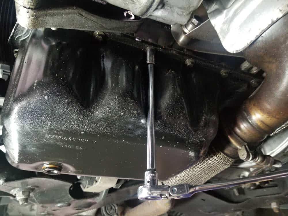 MINI R56 Oil Pan Gasket Replacement - remove the oil pan mounting bolts