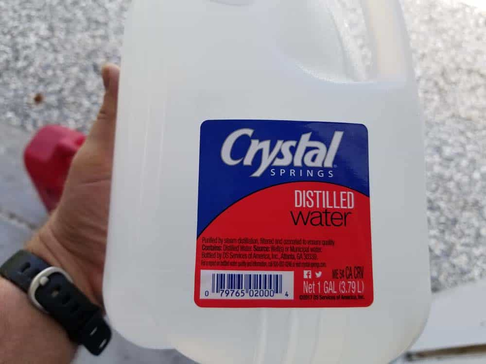 Only use distilled water to mix with coolant