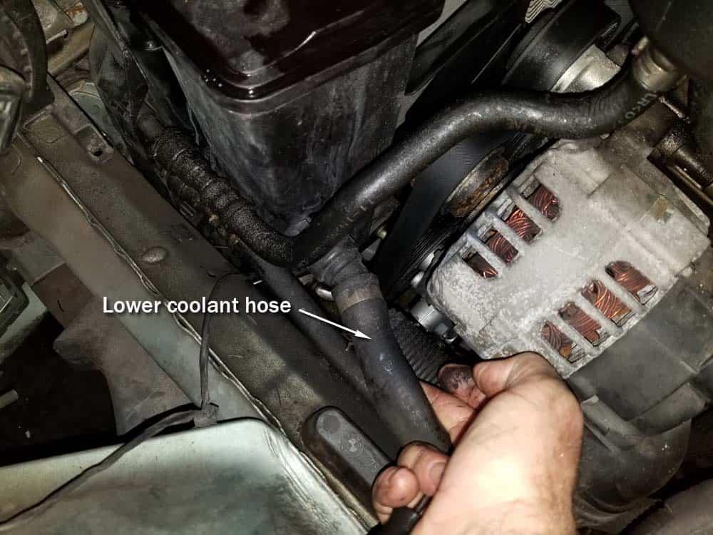 bmw e46 radiator - locate lower coolant hose