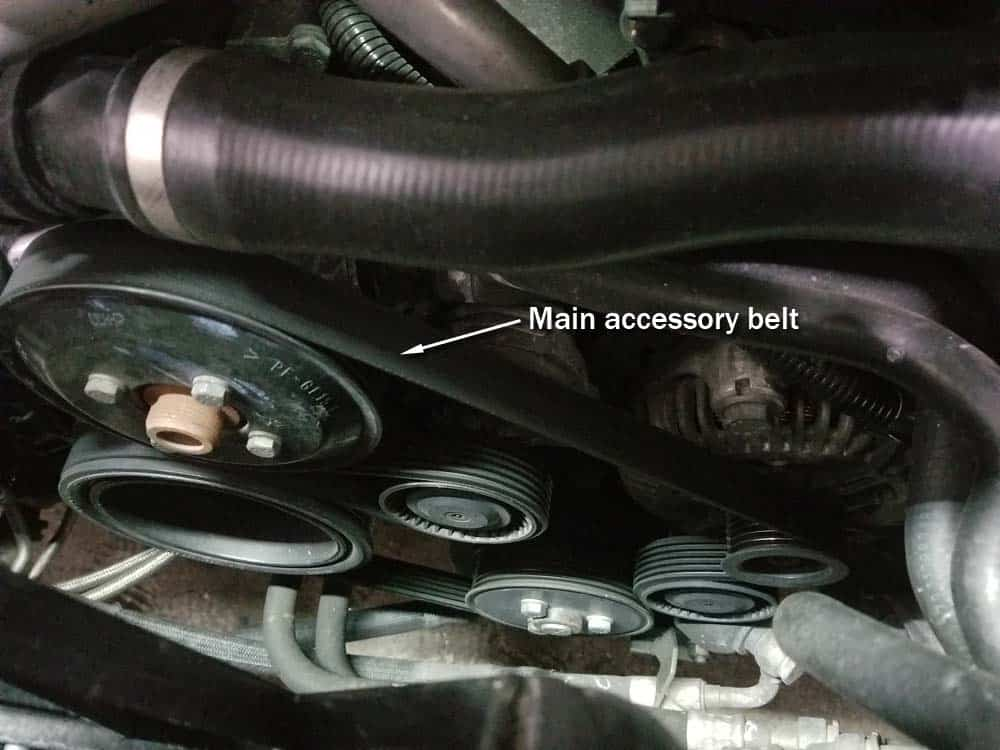 bmw E63 pulley replacement - Identify the accessory belt at the front of the engine.
