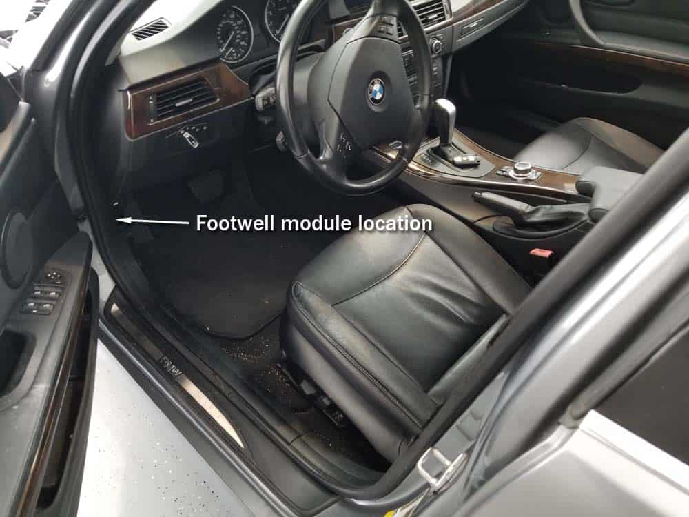 BMW footwell module location