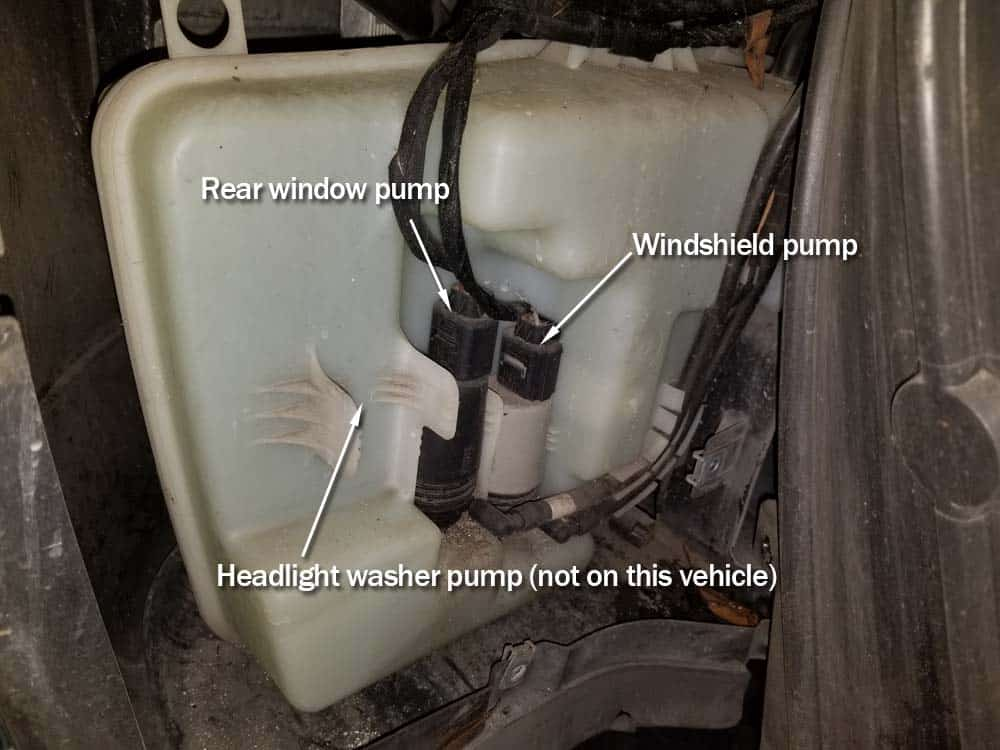 bmw e60 windshield washer pump replacement - The washer pumps are attached to the bottom of the fluid reservoir