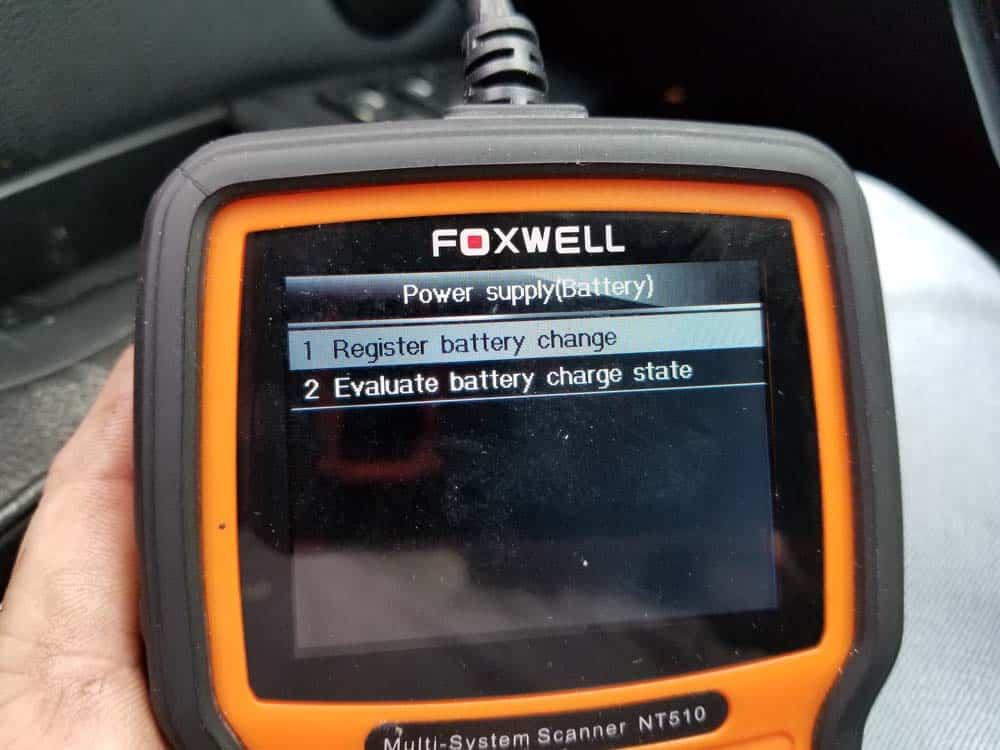 bmw battery registration - Choose register battery change option