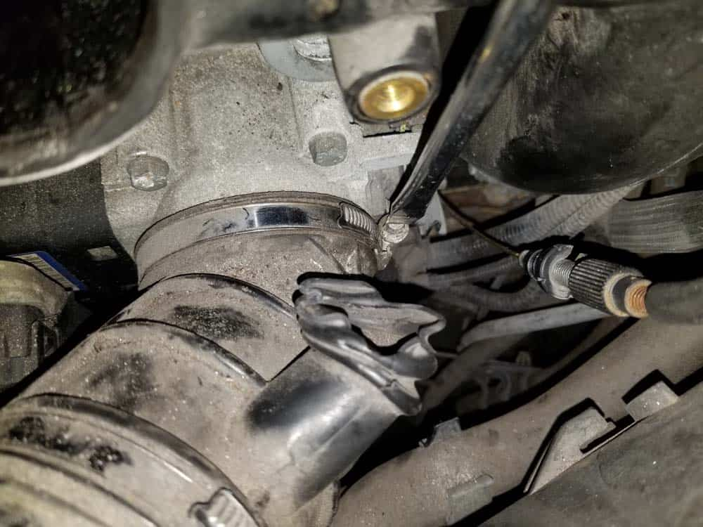 bmw m52 intake manifold removal - Loosen the hose clamp on the intake boot where it attaches to the throttle body