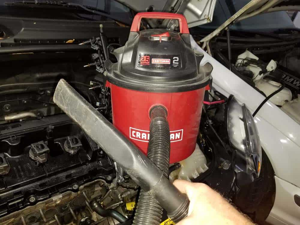 Use a vacuum to remove any debris left in the water pump.