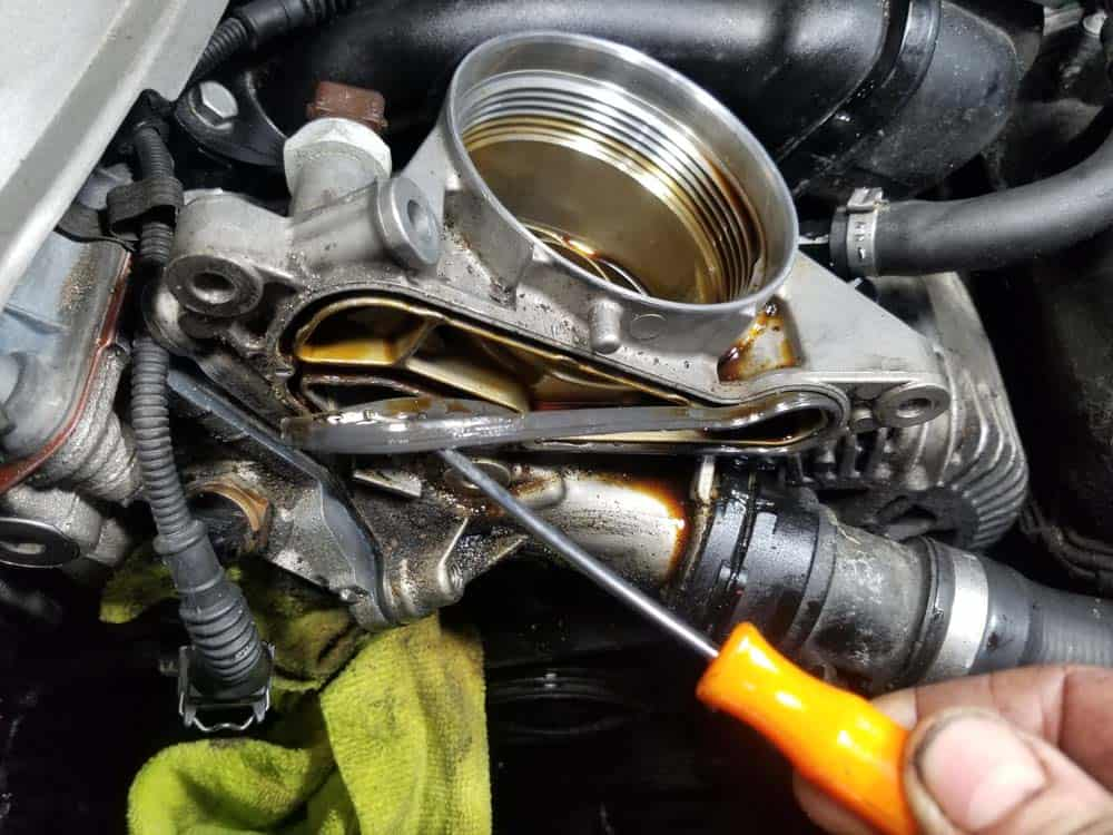 bmw n52 oil filter housing gasket replacement - Remove the old gasket from the oil cooler
