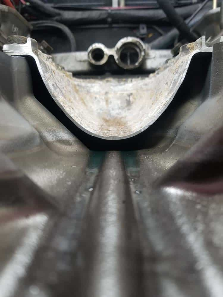The valley pan installed - note the passage ways that are formed for the coolant to flow