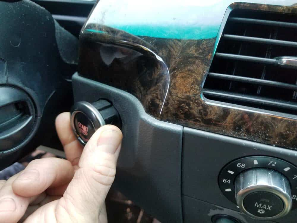 bmw e60 start button replacement- gently pull the switch free of the dashboard until it stops.