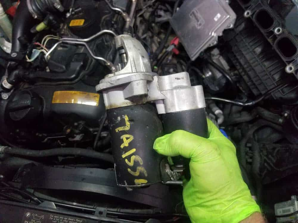 BMW n55 starter replacement - remove the starter from the vehicle