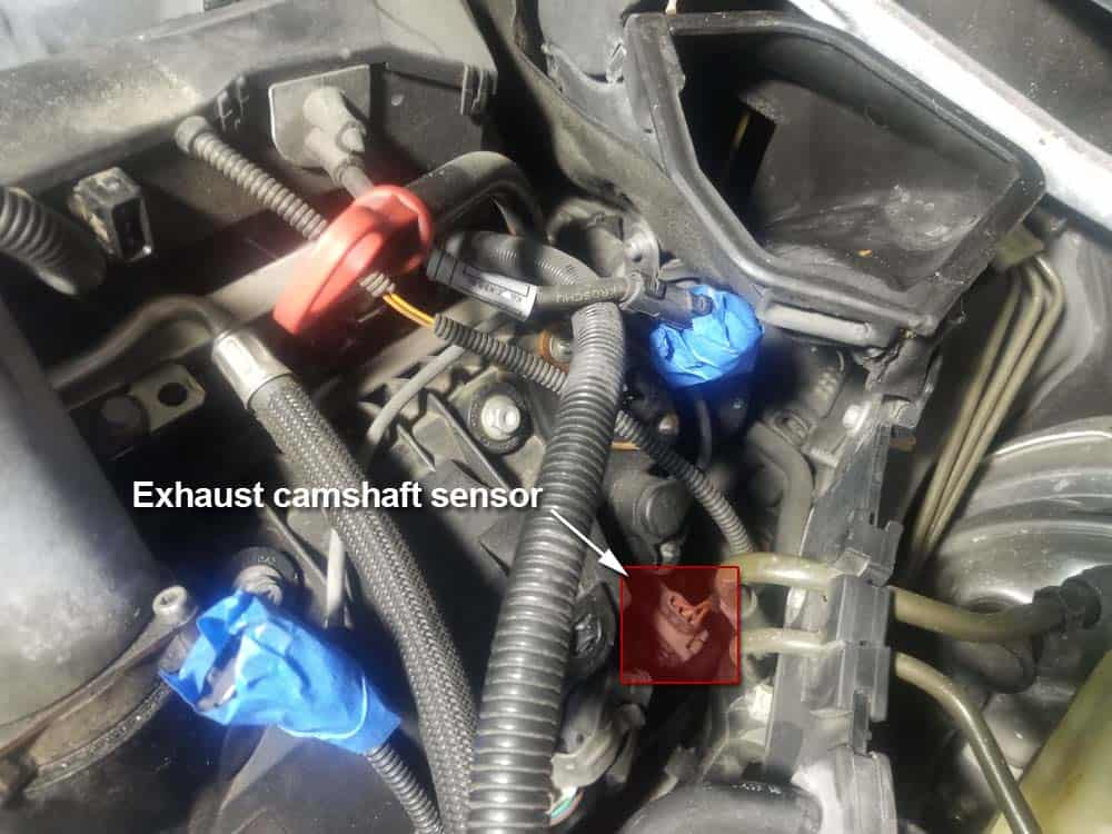 bmw n62 intake manifold gasket replacement - locate the exhaust camshaft sensor on the left side of the engine