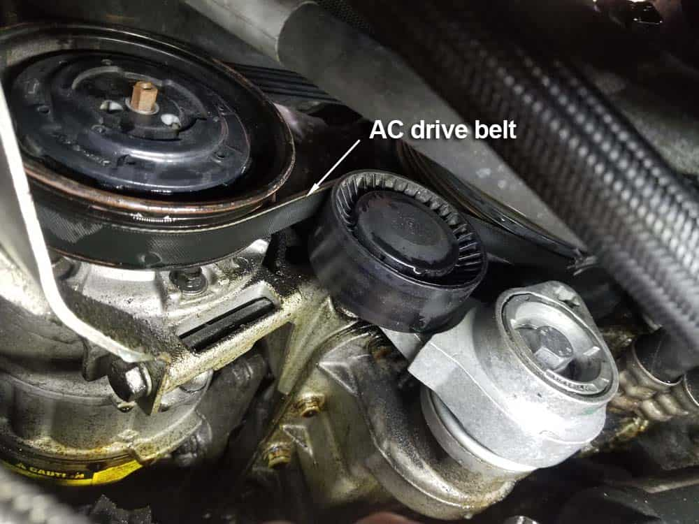 bmw n62 water pump replacement - locate the ac drive belt