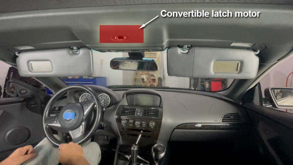 bmw e64 convertible latch gear replacement - the latch motor is located behind the upper trim panel
