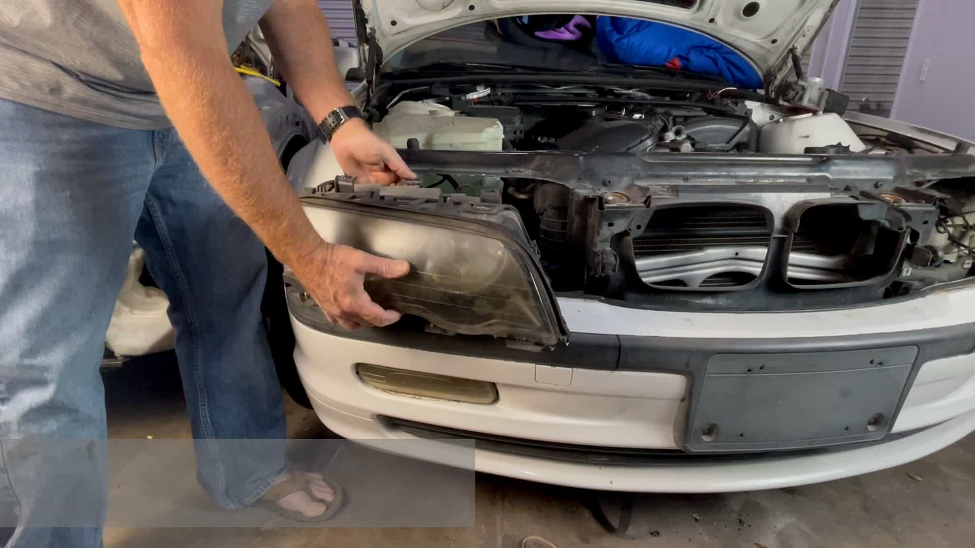Pull the headlight free so the bulb connections can be remove