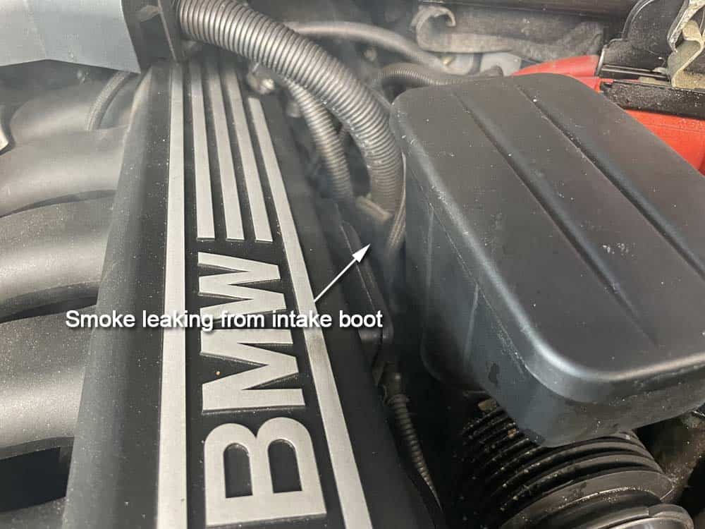 rough idle diagnoses and repair - smoke leaking from the intake boot